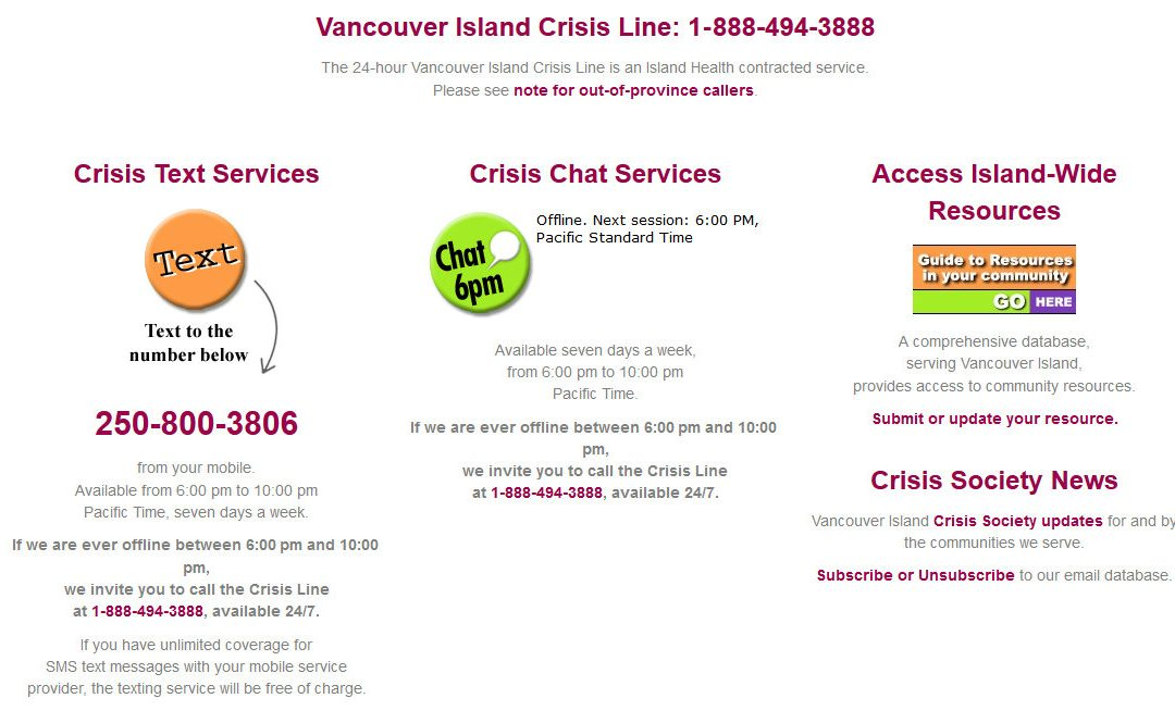 In this time of uncertainty, Vancouver Island Crisis Society is here to help